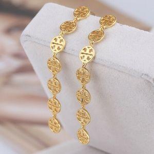 Tory Burch Drop Earrings Gold Logo New